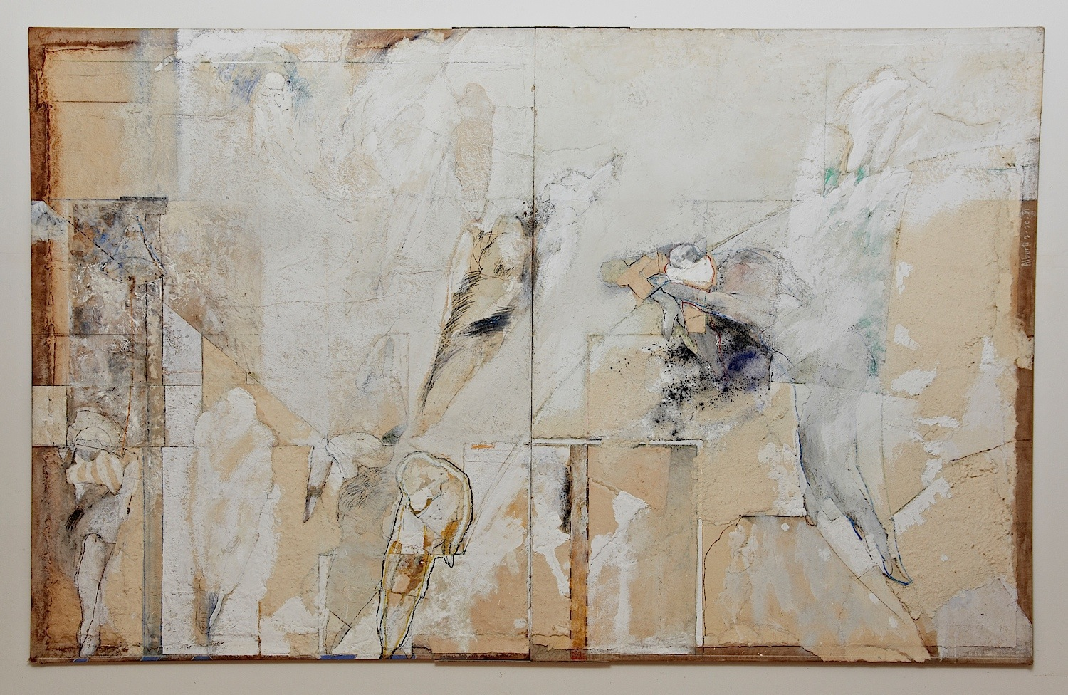 "Series White Dreams: ""A bell"" (91″ x 45.5″) Handmade cotton paper, canvas, oxides, and mixed medium"