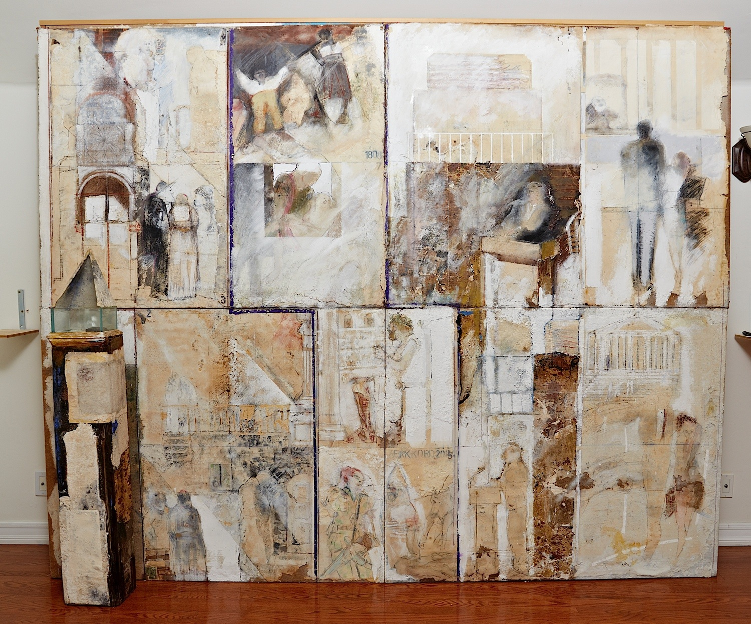 "Series White Dreams: ""Again and again"" (112"" x 91"") - Handmade cotton paper, canvas, oxides, and mixed medium"