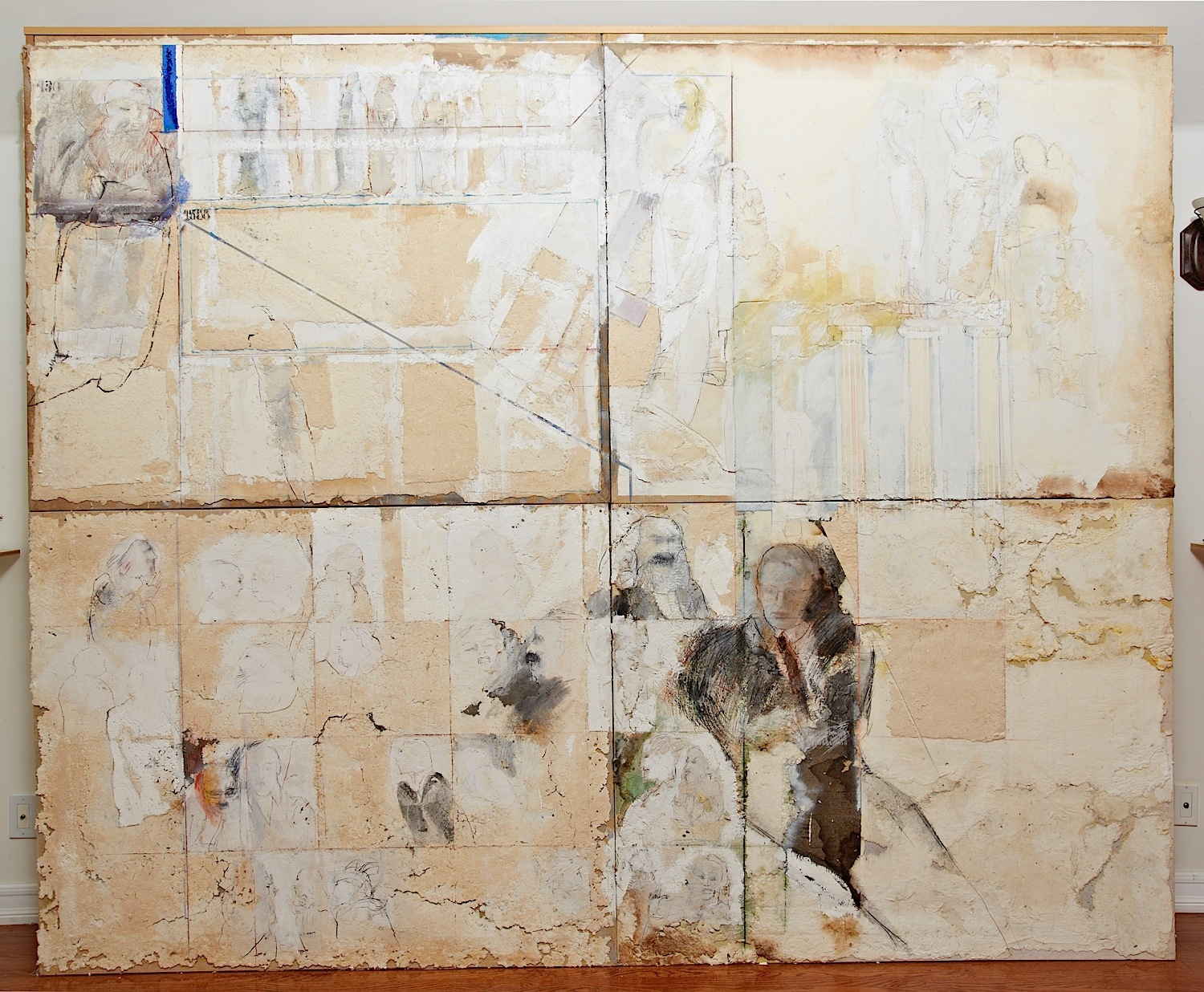 "Series White Dreams: ""Tour to the Philosophers"" (112"" x 91"") - Handmade cotton paper, canvas, oxides, and mixed medium"