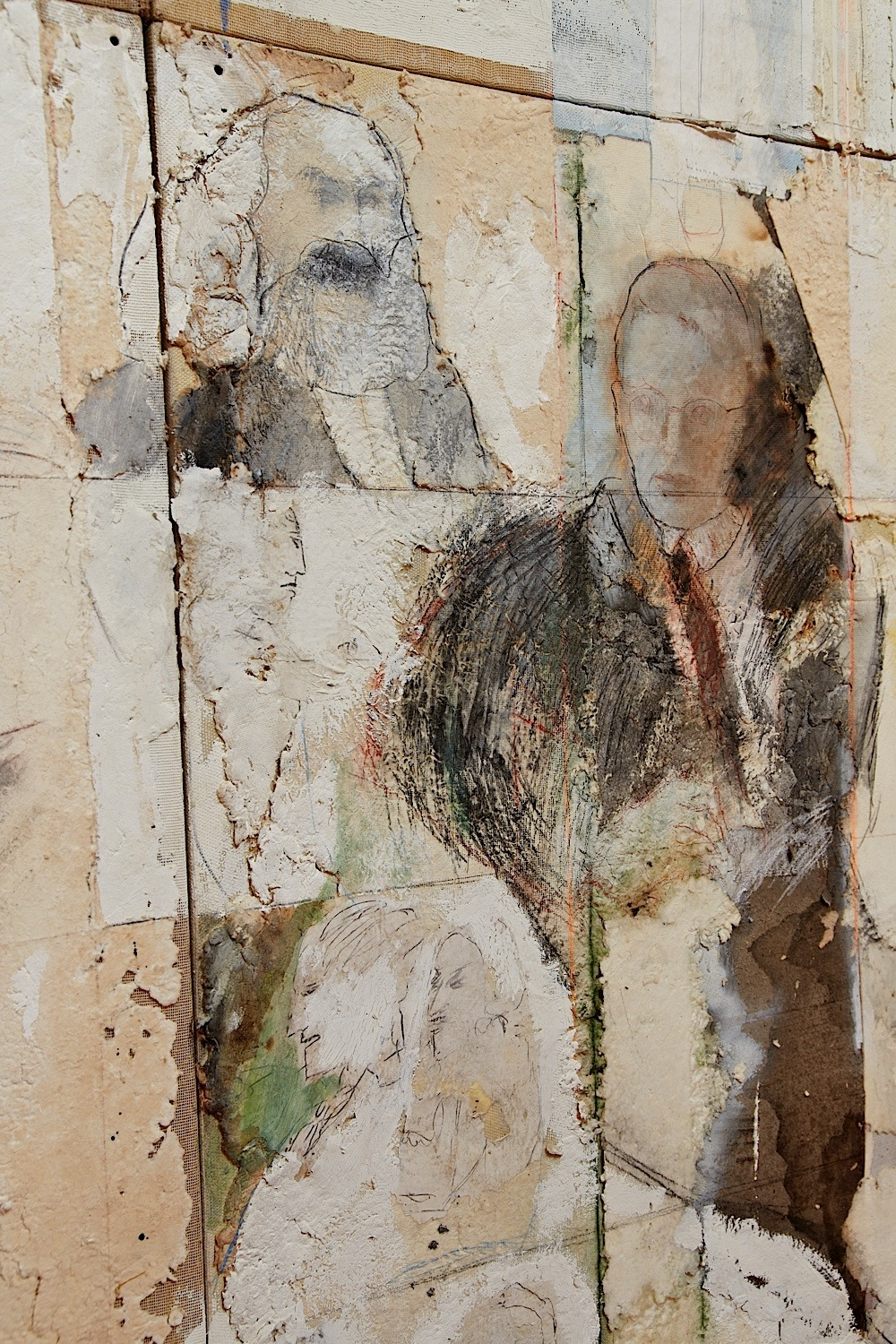"Series White Dreams: Detail - ""Tour to the Philosophers"" (112"" x 91"") - Handmade cotton paper, canvas, oxides, and mixed medium"