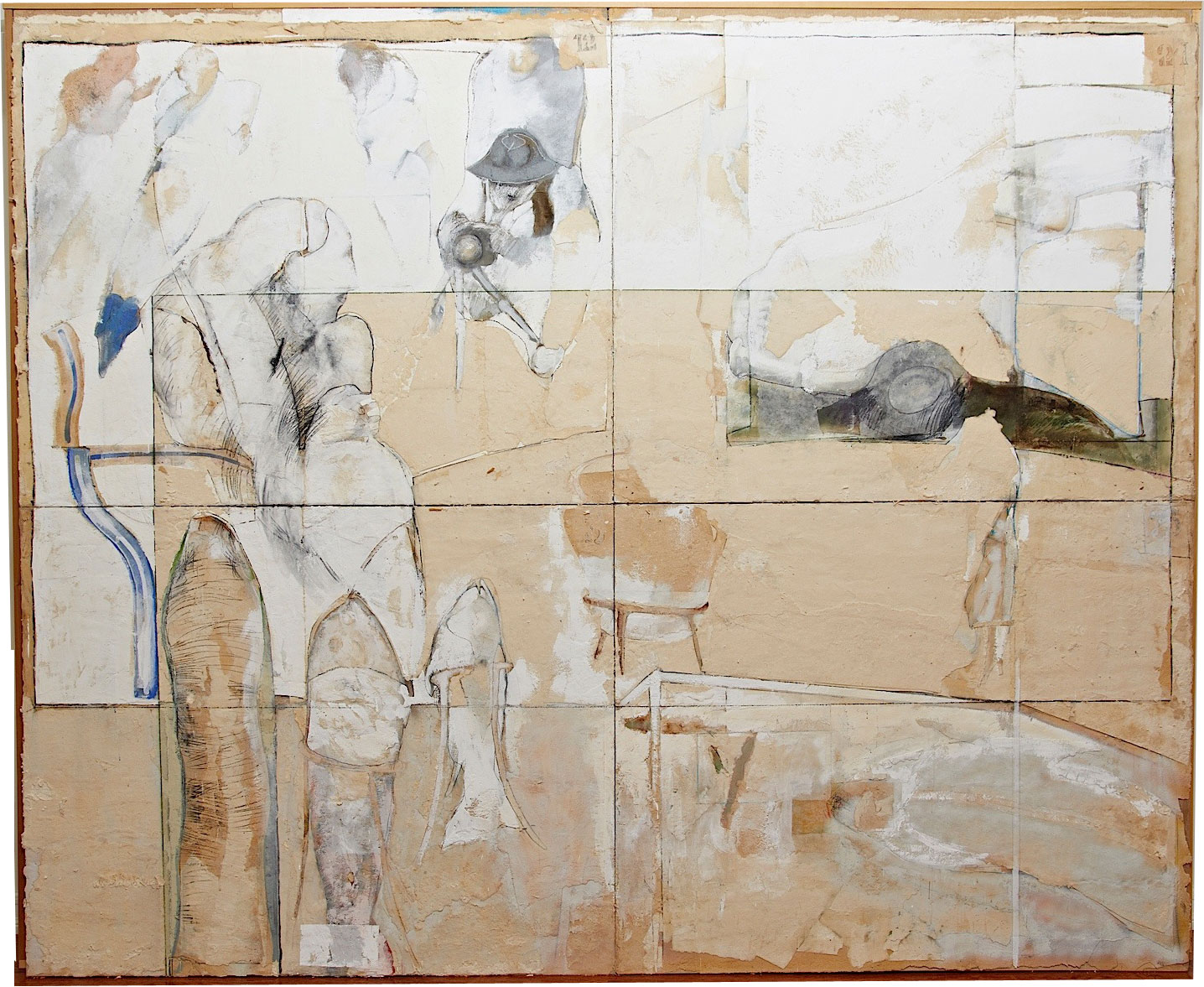 "Series White Dreams: ""The Space of Ideas"" (112"" x 91"") - Handmade cotton paper, canvas, oxides, and mixed medium"